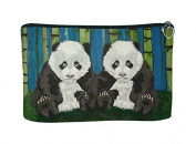 Panda Cubs Cosmetic Bag, Zip-top Closer - Taken From My Original Paintings
