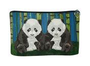 Panda Cubs Cosmetic Bag, Zip-top Closer - Taken From My Original Paintings
