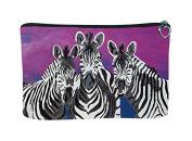 Zebras Cosmetic Bag, Zip-top Closer - Taken From My Original Paintings