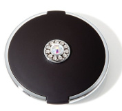 Brandon Femme 7X and Normal Rhinestone Round Compact Mirror, Black, Small, 45ml