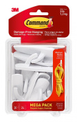 Command 17001-MPES Medium Hooks Mega Pack, White, 20-Hooks, 24-Strips