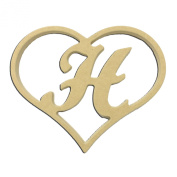 23cm Script Letter H Insert for Home Heart Sign Unfinished DIY Wooden Craft Cutout to Sell Stacked