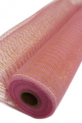 Deco Mesh roll, 50cm x 10 Yards, Pink with metallic gold stripe