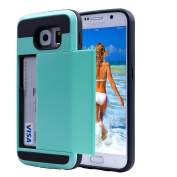 Samsung Note 4 Impact Hybird Wallet Card Slot Case-Superstart Blue Shockproof Resistant Hard PC + Soft TPU Rubber Bumper Cover for Samsung Galaxy Note 4