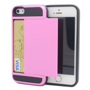 iPhone 5/5s Impact Hybird Wallet Card Slot Case-Superstart Pink Shockproof Resistant Hard PC + Soft TPU Rubber Bumper Cover for iPhone 5/5s
