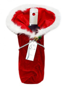 Christmas Fabric Wine Gift Bag With Attached Jingle Bells