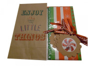 "Printed Lunch Party Gift Sacks ""Enjoy the Little Things"" Christmas Wrap Kit; 3 Items - 6 Rustic Old Fashion Christmas Lunch Party Sack, Tissue, 6 Rustic Gift Tags"