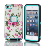 iPod Touch 5th Cover, SAVYOU iPod 5 Shield Flower Pattern Hybrid Impact Shockproof Defender Armour Cover Case for Apple iPod Touch 5 5th Generation