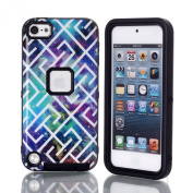 iPod 5 Cover, SAVYOU iTouch 5 Case Star Maze Pattern Hybrid Impact Shockproof Defender Armour Cover Case for Apple iPod Touch 5 5th Generation