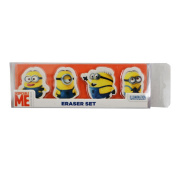 Despicable Me Official Childrens/Kids 4 Piece Minions Rubber/Eraser Set (One Size)