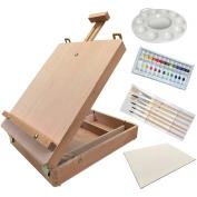 Wood Easel ACRYLIC Paint SET - Sketch Box Art Artist Painting Easel Kit