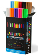Liquid Chalk Markers 10 Vivid Colours By Artrafts™ - Reversible Chisel to Bullet Point Tips + 16 FREE Chalkboard Stickers - Use on Glass, Metal, Containers, Menu Boards, Non-Porous Surface