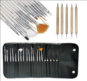 20pc Nail Art Design Painting Detailing Brushes & Dotting Pen / Dotter Tool Kit Set with Roll up Pouch for Women/ladies