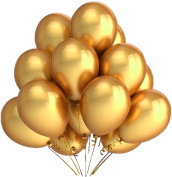 30cm Metallic Gold Bulk Latex Balloons, 100-Count