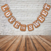 Labara Vintage Style Love Is Sweet Letter Garland Banner Decoration for Wedding Party Photo Props