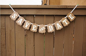 Labara 1x Wedding Decoration Flag 'Save the Date' Kraft Banner Wedding Banner Party Decorations Photo Props