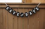 Labara 1x Wedding Decoration Flag 'Save the Date' Kraft Banner Wedding Banner Party Decorations Photo Props