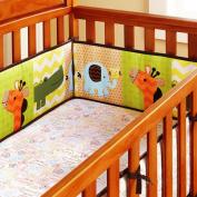 100% Cotton Percale Crib Bumper Pad- Safari