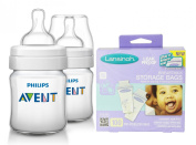 Philips Avent Classic Plus BPA Free Bottles with Breastmilk Storage Bags, 120ml
