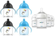 Philips Avent Natural Polypropylene Bottles with Sippy Cups (Includes BONUS Baby Haven Steam Steriliser Bag), Blue