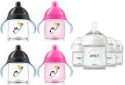 Philips Avent Natural Polypropylene Bottles with Sippy Cups (Includes BONUS Baby Haven Steam Steriliser Bag), Pink