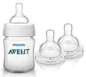 Philips Avent 120ml Classic Plus Bottle with Replacement Nipples & Bonus Baby Haven Reusable Steam Steriliser Bag, Medium Flow