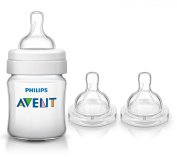 Philips Avent 120ml Classic Plus Bottle with Replacement Nipples & Bonus Baby Haven Reusable Steam Steriliser Bag, Slow Flow