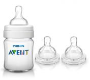 Philips Avent Classic Plus Polypropylene 120ml Bottle with Fast Flow Nipples & Bonus Baby Haven Reusable Steam Steriliser Bag