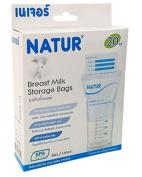 Natur Breast Milk Storage Bags BPA Free, Breastmilk Freezer Storage Bags 5.29 oz (150 ml.) 20 Bags