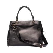 Oemi Leather Nappy Bag ~ 5 Interior Pockets ~ Deluxe Change Pad ~ Wide, Removable Shoulder Strap - Parkside Black