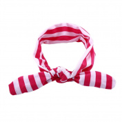 Itaar Infant Cute Girls Adrable Funny Rabbit Ear Stripe Elastic Hairband Pink+White