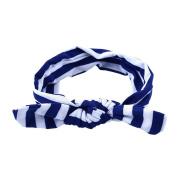 Itaar Infant Cute Girls Adrable Funny Rabbit Ear Stripe Elastic Hairband Blue+White