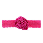 Itaar Toddler Girl Hair Soft Chiffon Rose Flower Lace Hairband Headwear Rose Red