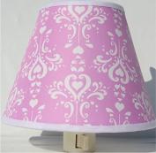 Pink Damask Night Light / Pink and White Nursery Wall Decor