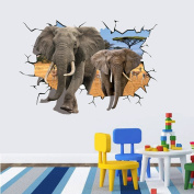 Salutto Removable Art Creative 3D Holes Removable Wall Sticker PVC Decal Sticker Elephant