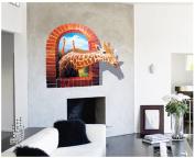 Salutto Removable Art Creative 3D Holes Removable Wall Sticker PVC Decal Sticker Giraffe