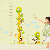 Winhappyhome Cartoon Animals Kids Growth Chart Measurement Tree Wall Stickers Removable Nursery Decor Decals