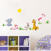Winhappyhome Unicorn Elephant Zebra Giraffe Cute Animal Kids Wall Stickers for Bedroom Living Room Nursery Backdrop Removable Decor Decals