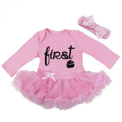 Cute First Birthday Pink Black Glitter Baby Girl Tutu Dress Outfit