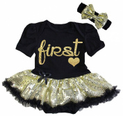 Cute First Birthday Black Gold Glitter Baby Girl Tutu Dress Outfit