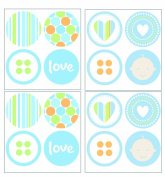 Lot 26 Studio P1604-L Art-U-Stick Baby Boy Dots Wall Stickers, 30cm by 30cm
