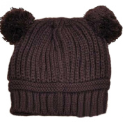 SDS Autumn and Winter Solid Colour Children Cute Double Ball Warm Knit Hat