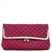 Hazel Fuchsia Suede with Gold Quilting Clutch