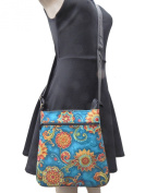 "US HANDMADE FASHION CROSS BODY WITH "" BLUE FLOWERS"" PATTERN SHOULDER BAG & ADJUSTABLE HANDLES, NEW, CSOP 5747"