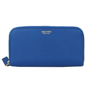 Emilio Pucci Blue Leather Long Wallet 55sm10 Zip Around