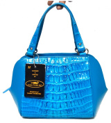 Authentic M Crocodile Skin Womens Tails Leather Turquoise Blue W/Strap Bag Purse Handbag