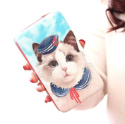 Easting Women Girls Multifunctional PU Leather Purse Cartoon Cat Pattern Clutch Long Wallet Handbag