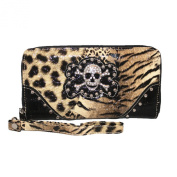Rhinestone Metal Skull Shiny Leopard Leather Women's Wallet with Texas West Coin Collection in 4 Colours