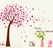 Beautiful Pink Peach Blossom Tree Wall Decal Home Sticker Paper Removable Living Room Bedroom Art Picture DIY Mural Girls Boys Kids Nursery Baby Playroom Decoration + Gift Colourful Butterflies
