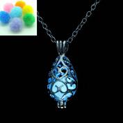 Teardrop Blue Glow in the Dark Necklace Jewellery Pendant Steampunk Fairy Magical